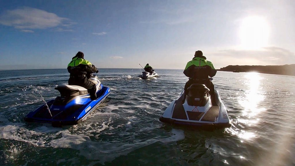 Testing the new Winter Jet Skiing Suits.